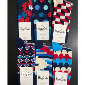 Happy Socks - 6 pairs - NEW - Size: 9-11 - AA